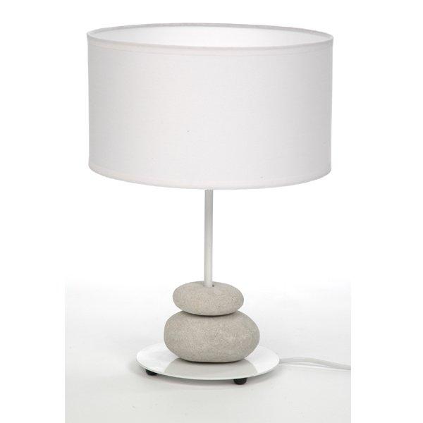 Tischleuchte mit Steinen im Lampenfuß